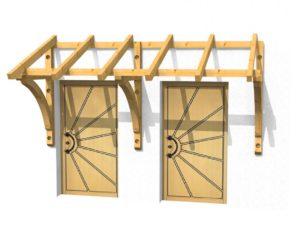 Holz-Vordach für zwei Haustüren 3D-Ansicht