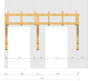 Holz-Vordach für zwei Haustüren Maße