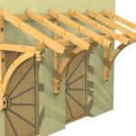 Holzvordach mit gebogenen Kopfbändern und Zierzapfen