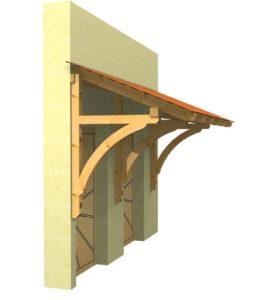großes Holzvordach für 2 Haustueren Seitenansicht