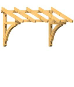 Pult-Holzvordach Westerwald 22° Dachneigung Wandkonsole - Kopfband gebogen