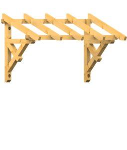 Pult-Holzvordach Westerwald 22° Dachneigung Wandkonsole - Kopfband mit Zierstrebe