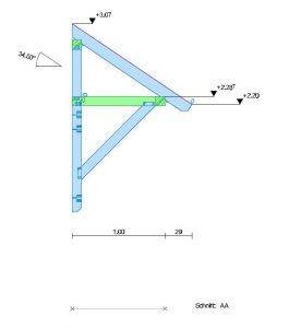 Holzvordach Sonderkonstruktion Seitenansichansicht