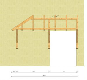 Holzvordach Sonderkonstruktion Vorderansicht