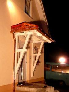 Vordach WoodSmart Odenwald Typ1 34° mit Kupferdachrinne