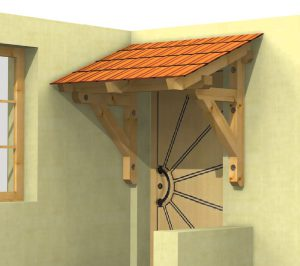 Holzvordach Schwarzwald als Sonderkonstruktion für die Eckmontage