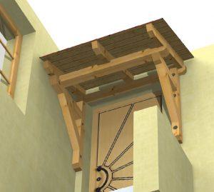 Holzvordach Schwarzwald als Sonderkonstruktion 3D von unten