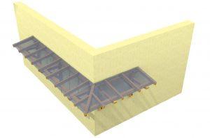 Grundriss-Eckvordach mit Glaseindeckung