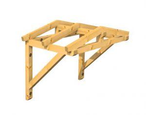 Holzvordach als Satteldach