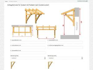 Anfrageformular Pultdach-Vordach in Sondergroesse