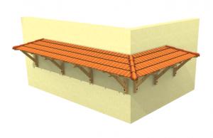 Eck-Vordach mit Dachsteinen