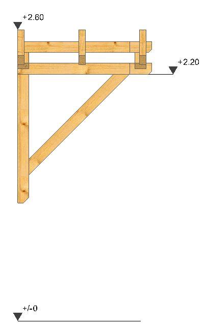 Holzvordach Satteldach Seitenansicht