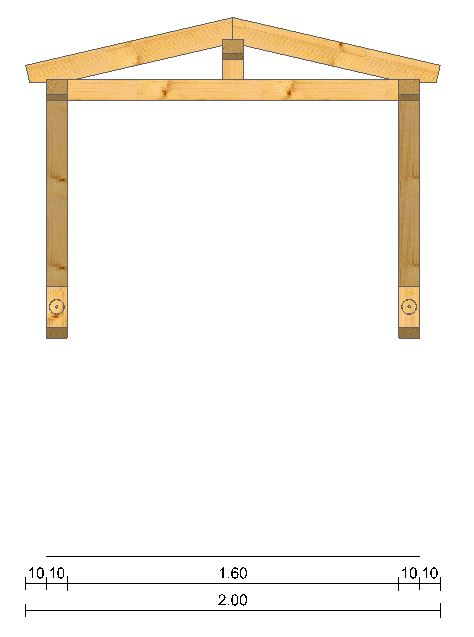 Holzvordach Satteldach Vorderansicht