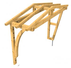 Vordach als Satteldach Sonderkonstruktion Holz