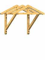 Holzvordach Bayerischer Wald 22° Dachneigung mit Kopfband