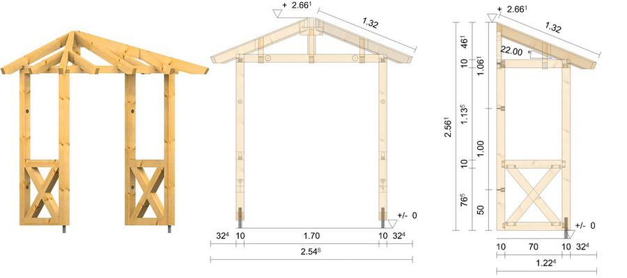 holz vordach odenwald typ1 22. Black Bedroom Furniture Sets. Home Design Ideas