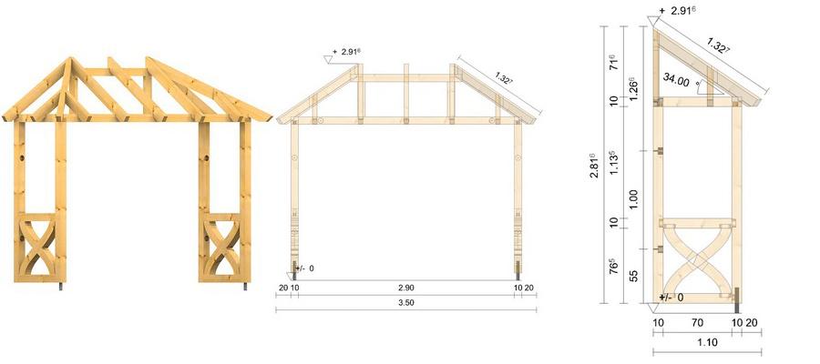 holz vordach odenwald typ4 34. Black Bedroom Furniture Sets. Home Design Ideas